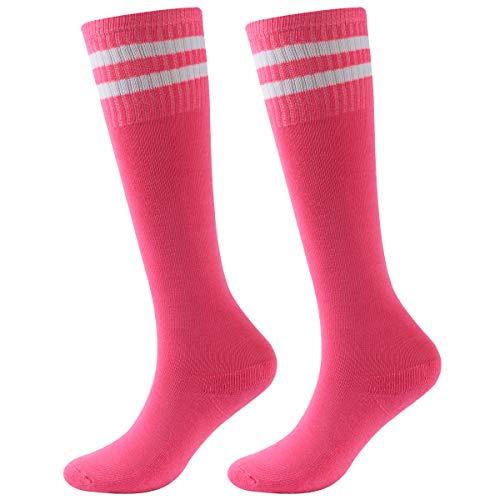 Soccer Socks, saillsen Teens Unisex Knee High Cotton Team Football Socks Long Striped Rugby Cheerleading Tube Socks, 2 Pairs, ()