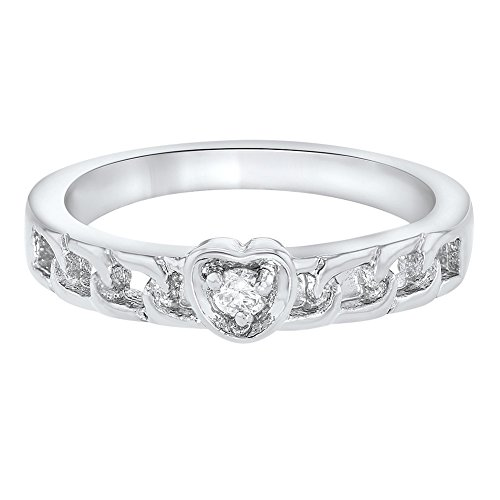In Season Jewelry Rhodium Plated Heart Love CZ Crystal Baby Girl Childrens Ring