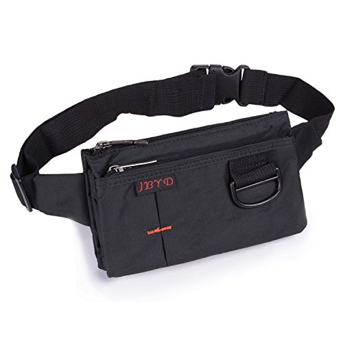 f480975e9a0 Galleon - Travel Waist Bag Sporty Fanny Pack Unisex Water Resistant Nylon  Sport Bumbag Crossbody Chest Pouch(Black)