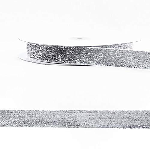 Avanti Glitter Ribbon Metallic Velvet 25-50 Yards - Difference Sizes (Silver, 1