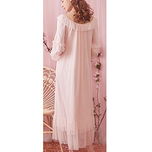 SINGINGQUEEN Women s Vintage Victorian Nightgown Long Sleeve Sheer  Sleepwear Pajamas Lace Nightwear Robe (Large 2bc589d3e
