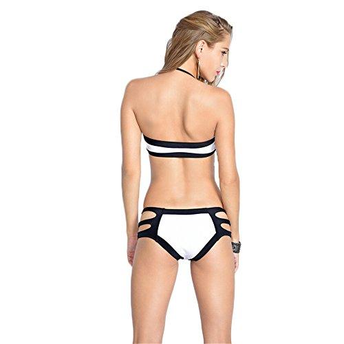 COCO clothing Bandage Damen Badeanzüge Zweiteilig Schwimmanzug Kontrastfarbe Neckholder Bikini Set Push Up Trikini