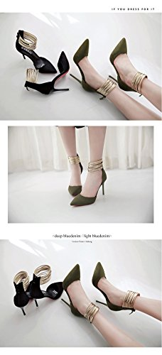 Womens Metal Heels Ring BININBOX Stiletto High Black Elegant Foot Pointed AxWqCWdSw1
