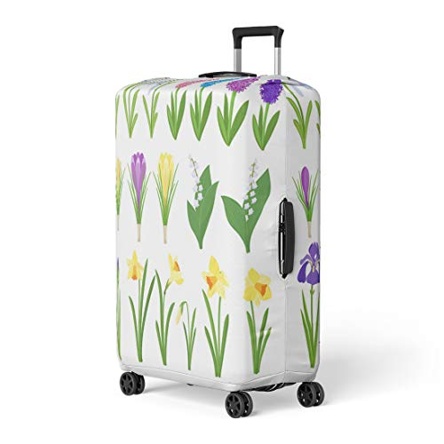 Pinbeam Luggage Cover Spring Flowers Irises Lilies of Valley Narcissus Crocuses Travel Suitcase Cover Protector Baggage Case Fits 22-24 inches