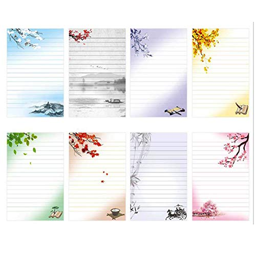 - IMagicoo 40 Lined Writing Stationery Paper Vintage Retro Design Letter Set, 8 Different Style