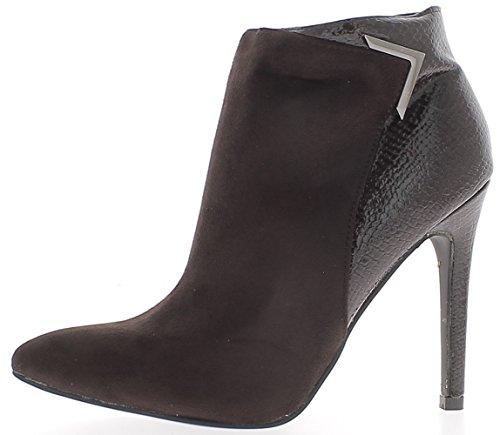 Stivali donna marrone a bi materiale di tacco 11cm