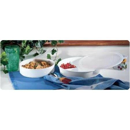 Dish High-Sided Divided, With Lid 10 Diameter 1 3/4 H Side White Dish/Safe, 1 ea