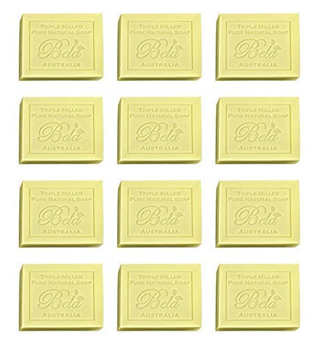 Bela Pure Natural Soaps Triple French Milled Moisturizing Natural Soap Bars, Sulfate Free – Honeysuckle - Made in Australia - Perfect Mothers Day, Anniversary, or Birthday Gift - 12 pack -3.5 oz each