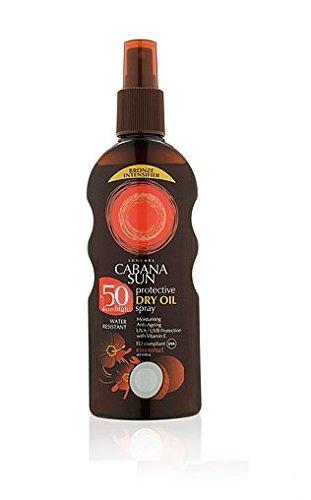 - Cabana Sun Deep Tanning Dry Oil Spray Coconut Water Resistant 200ml SPF50