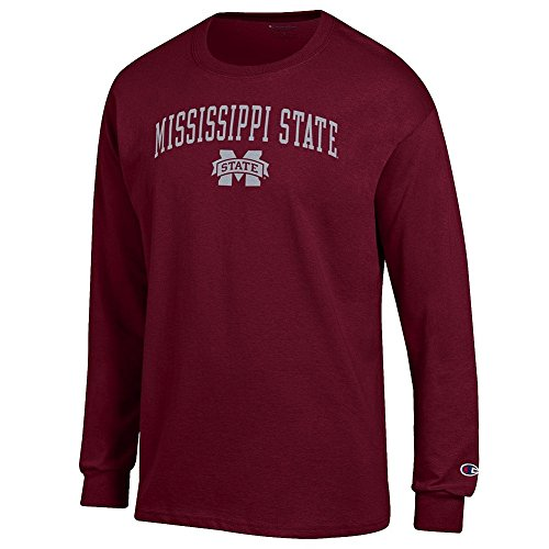Elite Fan Mississippi State Bulldogs Men's Long Sleeve Arch Tee Shirt, Maroon, XX Large