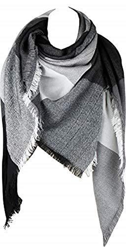 - VIVIAN & VINCENT Women's Plaid Blanket Winter Scarf Warm Wrap Oversized Shawl Cape Black Grey