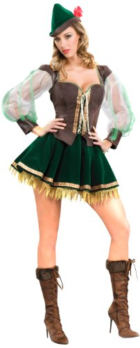 Sexy Robin Corset Costumes (Forum Deluxe Designer Collection Flirty Ms. Robin Hood Costume, Green/Brown, X-Large)