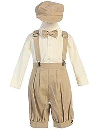 Little Boys Linen 5 Piece Knicker Suit Set - Vintage Suspender Bowtie Suit Set