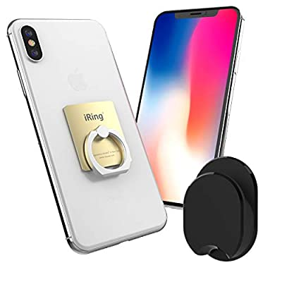 AAUXX iRing with Mount Hook Set Cell Phone Grip and Finger Holder for car and Office. Ring Stand Accessory for iPhone, Samsung, Other Android Smartphones and Tablets.
