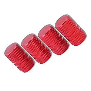 "(4 Count) Cool and Custom ""Diamond Etching Easy Grip"" Tire Rim Air Valve Stem Cap Seal Metal {Red Metal Threads Easy Application Fits Most Cars, Trucks, SUV, ATV, Motorcycle, Bicycles}"