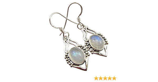CROSS Earrings Pendant Jewelry Set 925 Solid Silver Blue RAINBOW MOONSTONE Latest Style Eurovision Song Contest Handmade Collectible Bijoux
