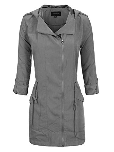 Instar Mode Women's Spring Lightweight Faux Suede Zip Up Solid Safari Jacket Coat Gunmetal M (Classic Suede Coat)