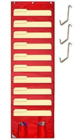 COMPONO Wall Storage Pocket Chart File Organizer with FREE BONUS 3 Door Hangers- Best Pocket Chart for School, Classroom, Home or Office Use. Wall Pocket Chart Organizer - Tri Fold Tie Case