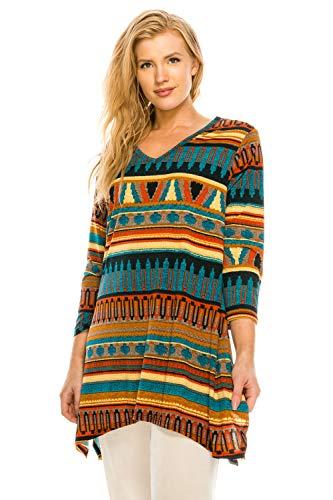 (Jostar Women's HIT V-Neck Binding Top Half Sleeve Print X-Large Multi)
