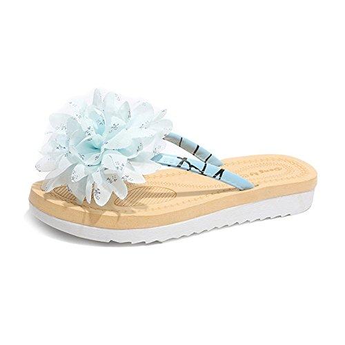 Blanc Wangcui De Chaussures Fiowers Décontractées Women Plage 3 Bleu Summer 39 Tongs 1 EU Bohemian Couleur Taille TvfqT