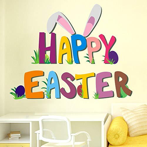 Little Story  Wall Decals Clearance , Happy Easter Rabbit Vinyl Decal Art Wall Sticker DIY Home Room Decor ()