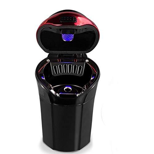 Aschenbecher Auto, Auto Aschenbecher mit blauer LED-Lichtanzeige, Auto Aschenbecher mit Deckel für Auto, Haus, Büro