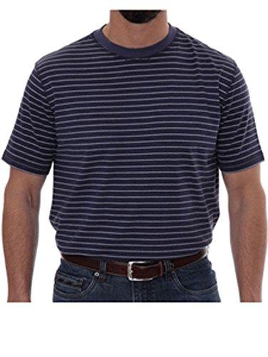 Robert Talbott Navy Stripe Turner Peached Jersey T-Shirt XL ()