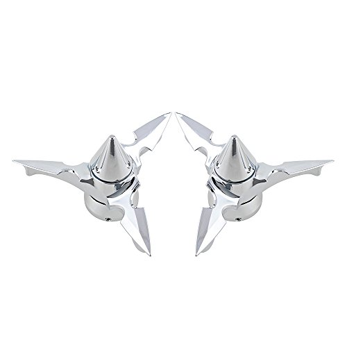 Fork Nut Covers (Front Axle Spun Blade Spinning Front Axle Cap Nut Cover For Harley Touring Trike Softail (Chrome))