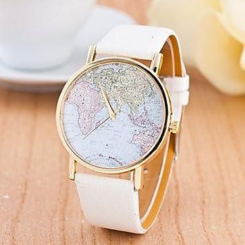 relojes de mujer, Mujer Reloj Deportivo Reloj de Pulsera Cuarzo Esfera Grande Cuero Auténtico Banda