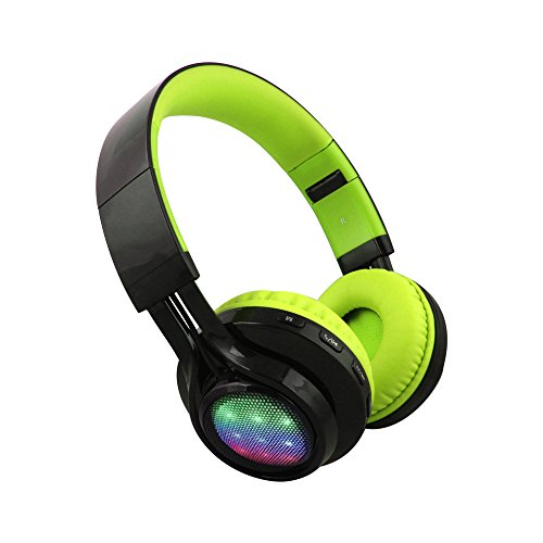 Alltrum Wireless On-Ear Headphone Wireless Headsets for Sports, LED Light, Lightweight Style,Built-in Microphone, SD Slot, FM, Wired Modes for Smartphones / PC / Tablets, Black and Green