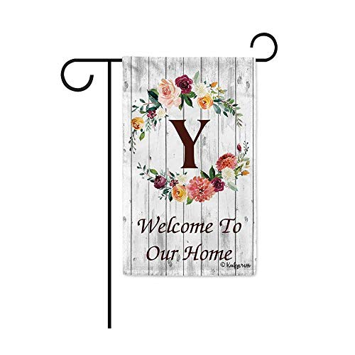 KafePross Hello Spring Flowers Summer Initial Letter Monogram Y Garden Flag Welcome to Our Home Warminghouse Decor Banner for Outside 12.5X18 Inch Double Sided]()