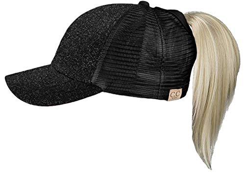 Funky Junque Girls Baseball Cap High Ponytail Messy Bun Glitter Trucker Mesh Hat