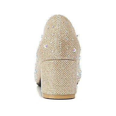 Talones de las mujeres Zapatos Primavera Verano Otoño Invierno Club de materiales personalizados banquete de boda y vestido de noche de tacón grueso del Rhinestone Gold