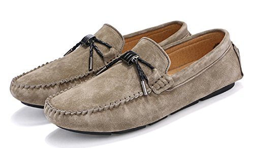 Leather Color Pure Khaki Business Driving Loafers Knot Mens TDA Penny Simple wO7Bqx1