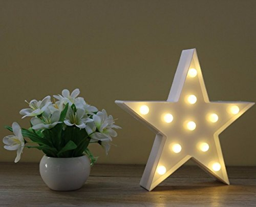 Wringo Decorative Letters Light Star Shape LED Plastic Marquee Light Battery Operated LED Marquee Sign for Home Christmas Decorations