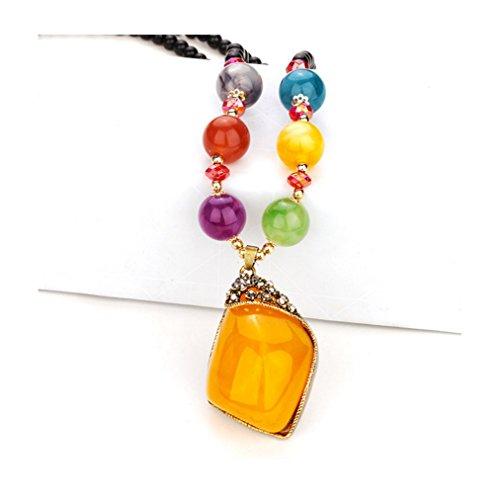Price comparison product image Gorgeous Jewelry Bohemia Colorful Beaded Rhombus Shape Diamond Accented Retro Yellow Gemstone Necklace