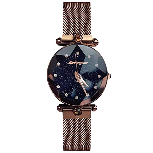 - RORIOS Fashion Analogue Quartz Ladies Watches Magnetic Mesh Band Starry Sky Dial Simulated Diamond Wrist Watches
