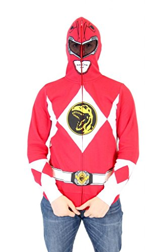 Power Rangers I Am Red Ranger Adult Full Zip Costume Hoodie (Adult Large)