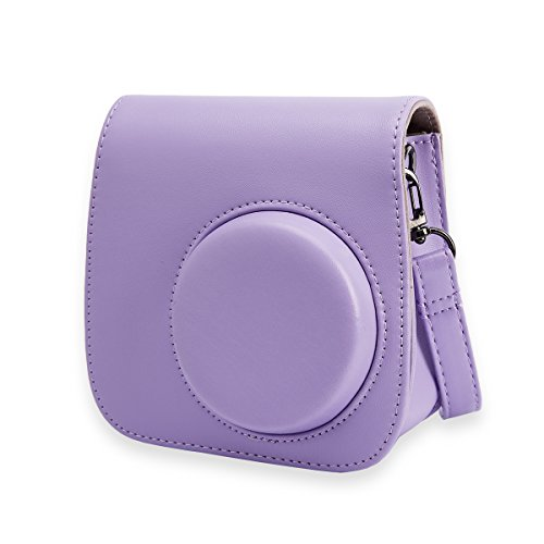 Alohallo Camera Case PU Leather Carring Bag for Fujifilm Instax Mini 9 Instant Camera, and for Fujifilm Instax Mini 8 Instant Film Camera with Shoulder Strap – Purple A