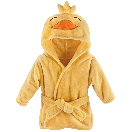 Hudson Baby Soft Plush Bathrobe, Duck, 0-9 Months - Girl Duck