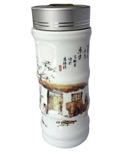 Warning Ceramic Travel Mug - CeramicArt Ceramics High-grade Tea Coffee Travel Mug Cup,Blue and White Porcelain Mugs