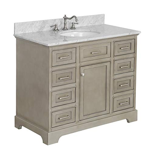 Aria 42-inch Bathroom Vanity (Carrara/Weathered Gray): Includes a Weathered Gray Cabinet with Soft Close Drawers, Authentic Italian Carrara Marble Countertop, and White Ceramic ()