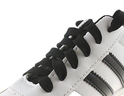 Mshega Premium Platta Atletiska Skosnören Tjocka Sneakers Skosnören Två Par Klassiska Svarta