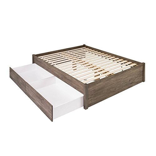 (Prepac Select Queen 4-Post Platform Bed with 2 Drawers in Drifted Gray)