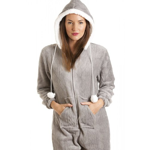 camille womens ladies luxury soft fleece hooded grey all in one onesie pajamas 6 16 10 12 gray. Black Bedroom Furniture Sets. Home Design Ideas