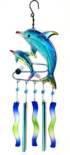 Bejeweled Display® Two Dolphins w/ Stained Glass Wind Chimes - Frog Bejeweled