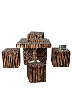 OnlineshoppeeBloque Wooden Antique Square Shaped Coffee Table Set