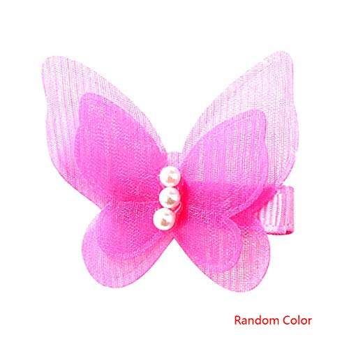 (Girls Butterfly Tie Hairpins Bow Knot Gauze Hair Clips Baby Bowknot Hairclip Random Color)