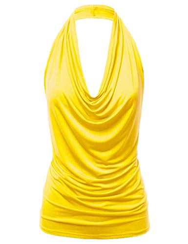 Top Sleeveless Neckline (FASHIONOMIC Women's Casual Halter Neck Draped Front Sexy Backless Tank Top (S-3XL) (CLLTJ316) Yellow L)