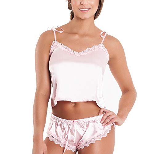 Besame Women Sexy Lingerie Shiny Satin Lace Babydoll Sleepwear Set of Two Pieces Pink (Two Piece Sexy Lingerie)
